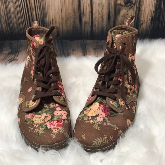 Dr. Martens Shoreditch Brown Floral Pattern Boots Brand Dr